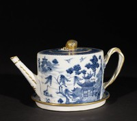 Chinese export ware teapot with cover and stand, underglaze blue landscape design