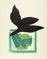 Stylized black bird flying above a multi-toned green square.