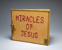 Five page wood panel book (title page plus four painted panels depicting the miracles of Jesus.