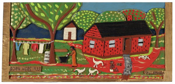 Group of six low-relief carved and painted panels with autobiographical scenes from the life of the artist.