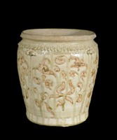 Tall jar with carved lotus-petal collar, four double-strap handles and inlaid lotus decoration.