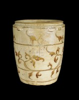Jar with carved lotus-petal collar, four double-strap handles and three bands of incised vegetal decoration.