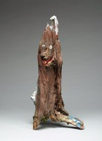 Untitled (Face in Tree Trunk #5), Ralph Griffin, painted wood