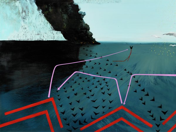 Scene of dark ocean with pale blue sky; black smoke billows from surface of ocean near horizon line. Black v-shaped darts flow in lines from background to foreground; prominent red arrows at bottom of painting point toward horizon line; pink lines terminating in arrows bend in different directions. A crow flies, trailing a ribbon of red; white gulls fly toward the horizon line, accompanied by white arrows.