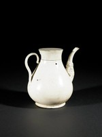 Ewer with flat-topped cover, makara spout, stepped handle.