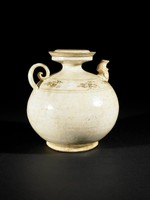 Bulbous ewer with flat-topped cover, molded spout, spiral handle with floral design painted in underglaze-iron.