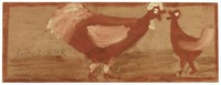 Untitled (Two Chickens), Jimmy Lee Sudduth, paint and mud on wood board