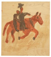 Untitled (Two Men on Horse), Jimmy Lee Sudduth, paint and mud on wood board