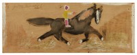 Untitled (Man Riding Black Horse), Jimmy Lee Sudduth, paint and mud on wood board