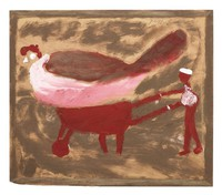 One Big Hen, Jimmy Lee Sudduth, paint and mud on wood board