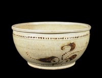 Wide mouth basin with inlaid vegetal decoration.