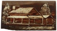 Untitled (Log Cabin in Snow), Jimmy Lee Sudduth, paint and mud on wood board
