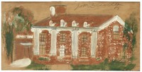 Untitled (Red House with White Columns), Jimmy Lee Sudduth, paint and mud on wood board