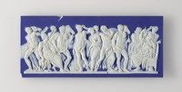"""Small, rectangular plaque of white jasper with dark blue jasper dip on the front and back, with white relief scene on the front of """"The Discovery of Achilles"""" whereby Menelaus and Diomedes discover Achilles among the daughters of Lycomedes."""