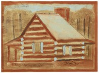 Two-sided painting, log cabin and cotton pickers.