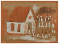 Untitled (White Church with Cemetery?), Jimmy Lee Sudduth, paint and mud on wood board