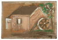 Untitled (Grist Mill), Jimmy Lee Sudduth, paint and mud on wood board