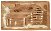 Untitled (Log Cabin), Jimmy Lee Sudduth, paint and mud on wood board