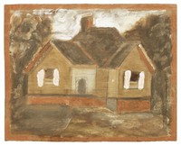 Untitled (Brown House with White Shutters), Jimmy Lee Sudduth, paint and mud on wood board