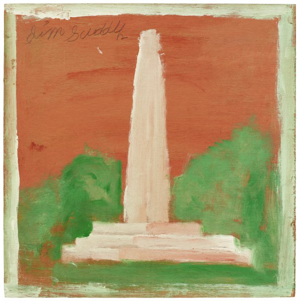 Washington Monument, Jimmy Lee Sudduth, paint and mud on wood board