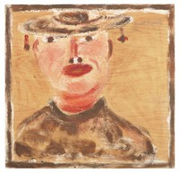 Minnie Pearl, Jimmy Lee Sudduth, paint and mud on wood board