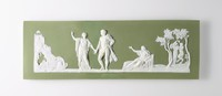 Rectangular green jasper plaque with white relief scene of Choice of Hercules, Broken in three and repaired