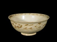 Bowl decorated with chrysanthemum spray in well and scrolling bands below exterior rim, all painted in underglaze-iron.