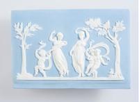 Rectangular blue jasper plaque with white relief of women and children dancing