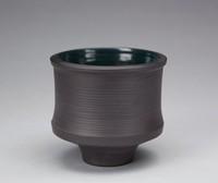 Vase, David Puxley, Wedgwood, black basalt with glazed interior