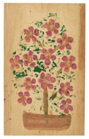 Untitled (Flowers in Pot), Jimmy Lee Sudduth, paint and mud on wood board