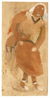 Untitled (Religious/Man with Lamb), Jimmy Lee Sudduth, paint and mud on wood board