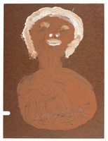 Untitled (Bust of Woman with White Hair, Black Background), Jimmy Lee Sudduth, paint and mud on wood board