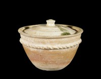 A small covered vessel used for steaming food, stoneware with green and buff ash glaze, twisted-rope decoration; inscription on inside of cover.
