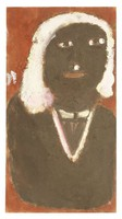 Untitled (Bust of Black Woman with White Hair and V-Neck), Jimmy Lee Sudduth, paint and mud on wood board