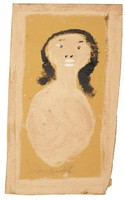 Untitled (Tan Bust of Woman with Black Hair), Jimmy Lee Sudduth, paint and mud on wood board