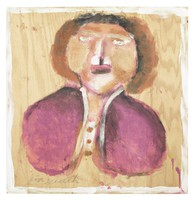 Untitled (Bust of Woman in Purple), Jimmy Lee Sudduth, paint and mud on wood board