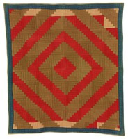 Log Cabin quilt, red and brown center, blue borders, found in Lamar County, Alabama