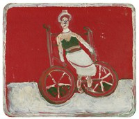 Untitled (The artist's sister in a wheelchair), Jimmy Lee Sudduth, paint and mud on formica board