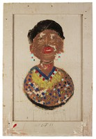 Bust of Ethel (Artist's Wife), Jimmy Lee Sudduth, paint and mud on wood board