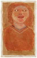 Untitled (Bust of Woman in Red, White Pupils), Jimmy Lee Sudduth, paint and mud on wood board