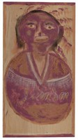 Untitled Bust with Feathered Headdress/Indian Princess?), Jimmy Lee Sudduth, paint and mud on wood board