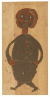 Untitled (Dark Brown Figure Walking), Jimmy Lee Sudduth, paint and mud on wood board