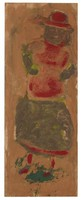 Untitled (Standing Woman with Red Hat and Blouse), Jimmy Lee Sudduth, paint and mud on wood board
