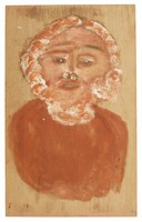 Untitled (Bust with White and Red Hair and Beard), Jimmy Lee Sudduth, paint and mud on wood board