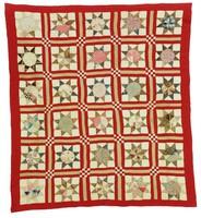 Stars with Checkerboard Corner Blocks quilt, found in Lamar County, Alabama