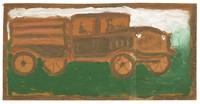 Untitled (Truck), Jimmy Lee Sudduth, paint and mud on wood board