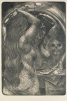 A nude woman brushes her hair in front of a mirror in which the face of an old woman and a skull is reflected.