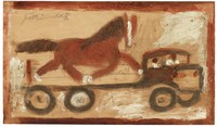 Untitled (Horse on Trailer), Jimmy Lee Sudduth, paint and mud on wood board