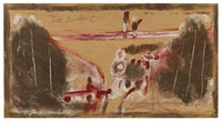 Untitled (Train Wreck), Jimmy Lee Sudduth, paint and mud on wood board