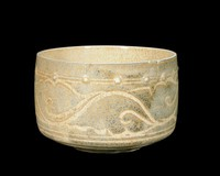 Cup with row of bosses and incised scrolling floral decoration.